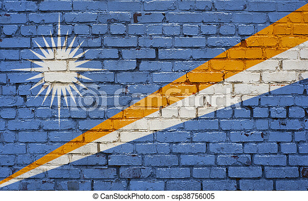 Flag of Marshall Islands painted on brick wall, background texture - csp38756005