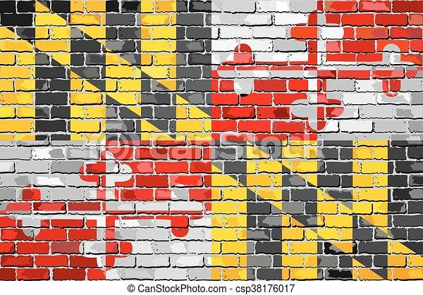 Flag of Maryland on a brick wall - csp38176017