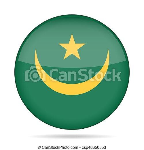Flag of Mauritania. Shiny round button. - csp48650553