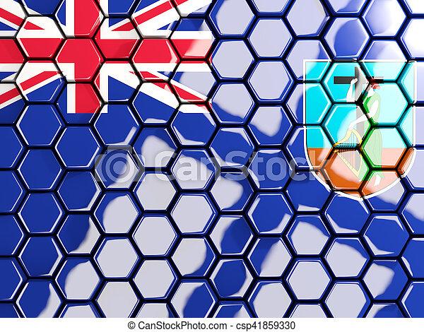 Flag of montserrat, hexagon mosaic background - csp41859330