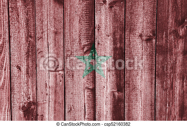 Flag of Morocco on weathered wood - csp52160382