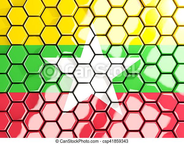 Flag of myanmar, hexagon mosaic background - csp41859343