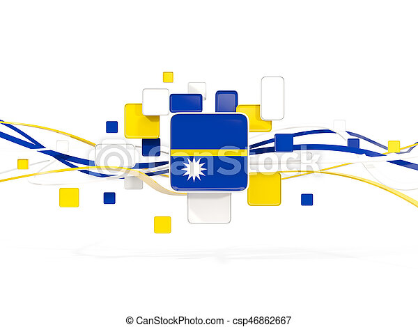 Flag of nauru, mosaic background with lines - csp46862667