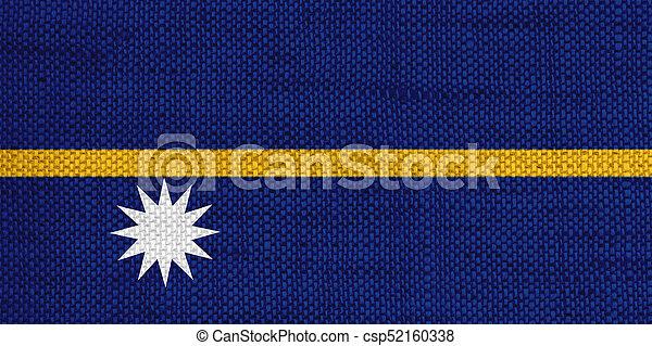 Flag of Nauru on old linen - csp52160338
