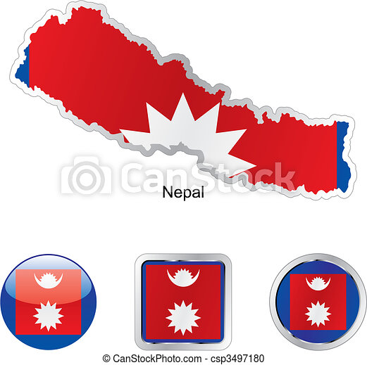 Fully editable flag of nepal in map and internet buttons shape .
