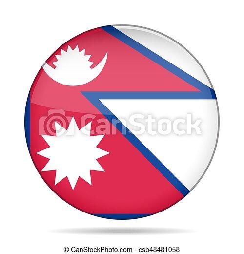 Flag of Nepal. Shiny round button. - csp48481058