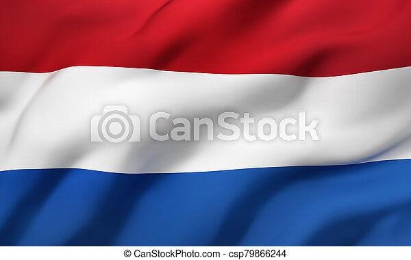 Flag of Netherlands blowing in the wind - csp79866244