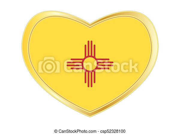 Flag Of New Mexico In Heart Shape Golden Frame Flag Of The Us