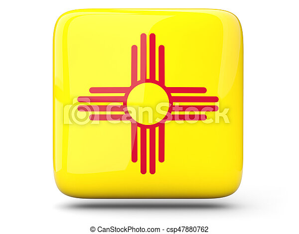 Flag of new mexico, US state square icon - csp47880762