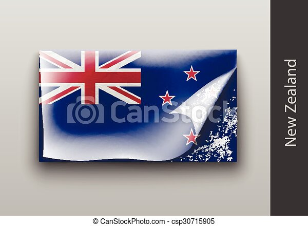 Flag of New Zealand with the tattered masking - csp30715905