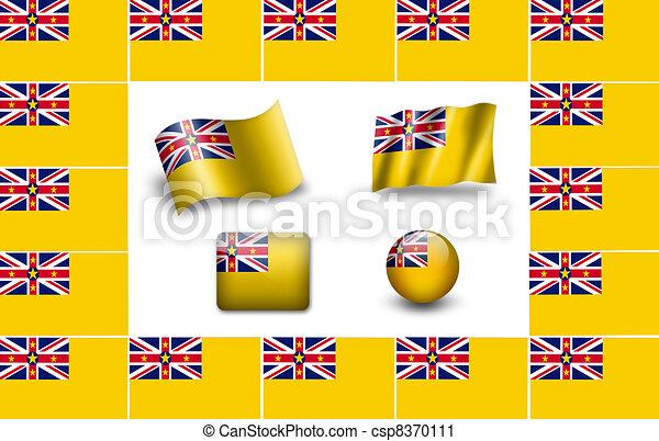 Flag of Niue. icon set. flags frame. - csp8370111