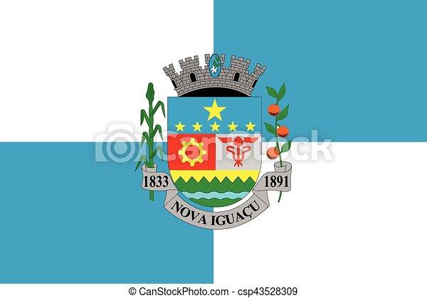 Flag of Nova Iguacu, Brazil. Vector Format - csp43528309