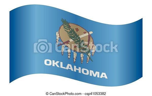 Flag Of Oklahoma Waving On White Background Oklahoman Official Flag