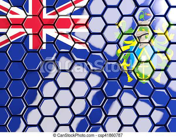 Flag of pitcairn islands, hexagon mosaic background - csp41860787
