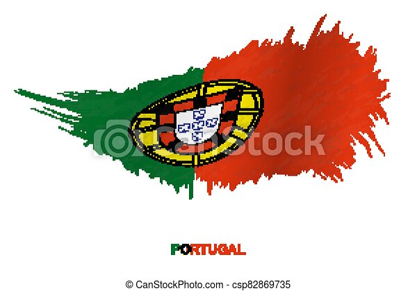 Flag of Portugal in grunge style with waving effect. - csp82869735