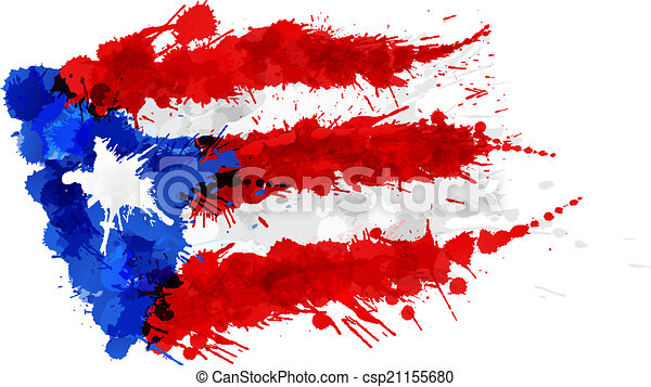 Flag of  Puerto Rico made of colorful splashes - csp21155680
