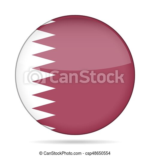Flag of Qatar. Shiny round button. - csp48650554