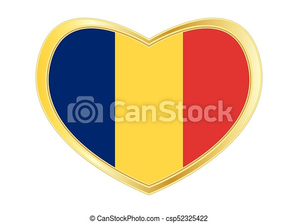 Flag of romania in heart shape golden frame csp52325422