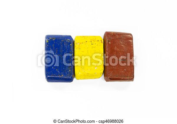Flag of Romania with wax crayon - csp46988026