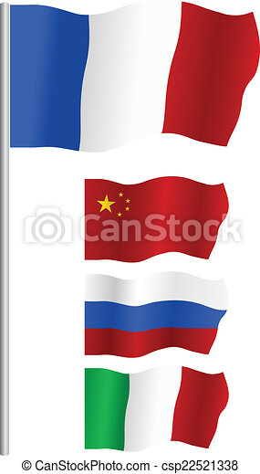 Flag of : Russia, China, France and Italy - csp22521338