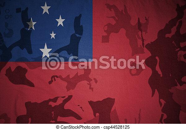 flag of Samoa on the khaki texture . military concept - csp44528125