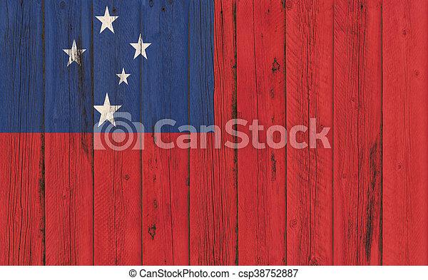 Flag of Samoa painted on wooden frame - csp38752887