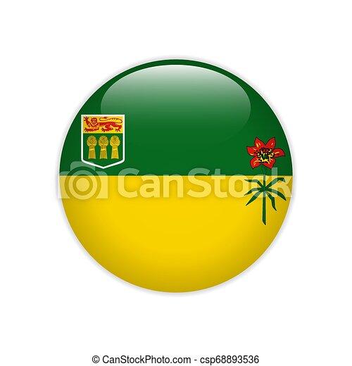 Flag of Saskatchewan button - csp68893536