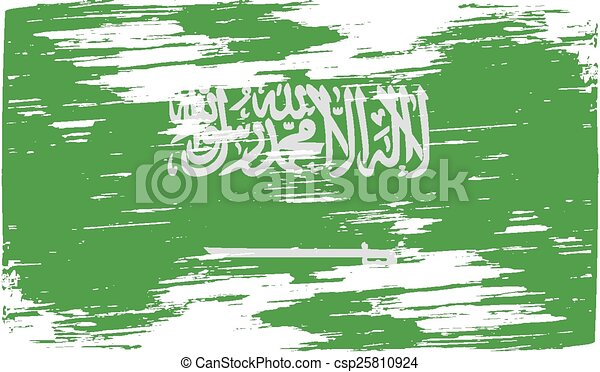 Flag of Saudi Arabia with old texture. Vector - csp25810924