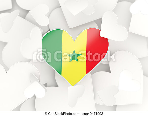 Flag of senegal heart shaped stickers csp40471993