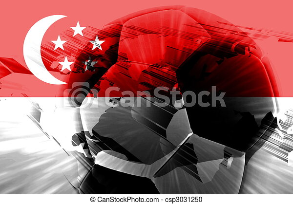 Flag of Singapore soccer - csp3031250