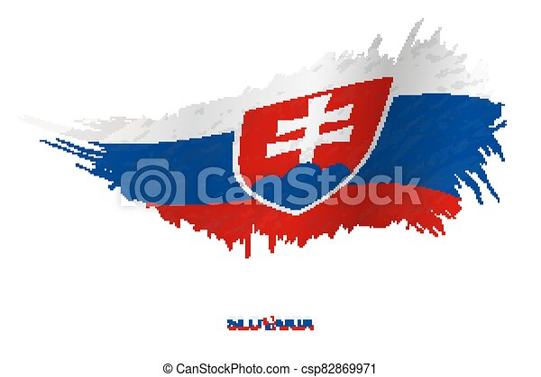 Flag of Slovakia in grunge style with waving effect. - csp82869971