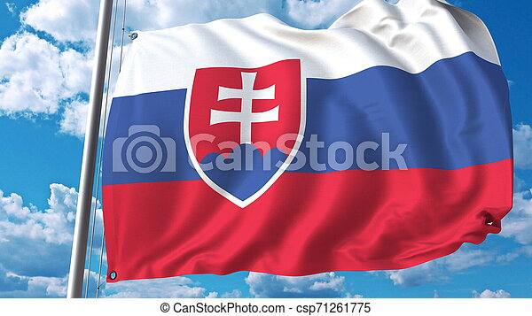 Flag of Slovakia on sky background. 3D rendering - csp71261775