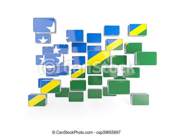 Flag of solomon islands, mosaic background - csp39655697