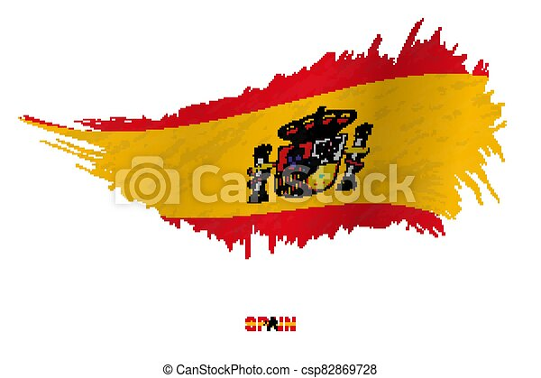 Flag of Spain in grunge style with waving effect. - csp82869728