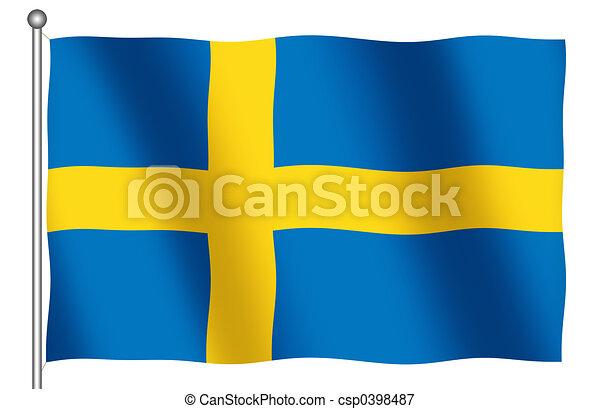 Flag of Sweden Waving - csp0398487