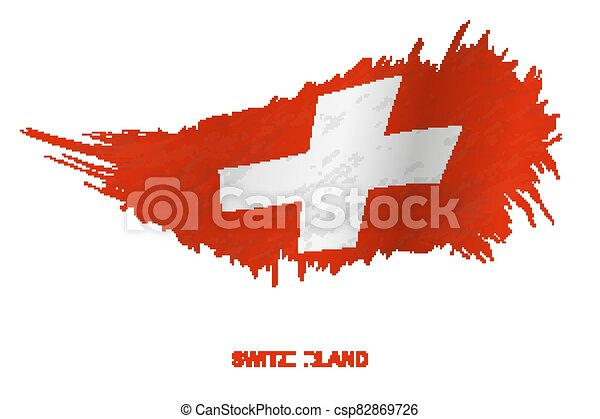 Flag of Switzerland in grunge style with waving effect. - csp82869726