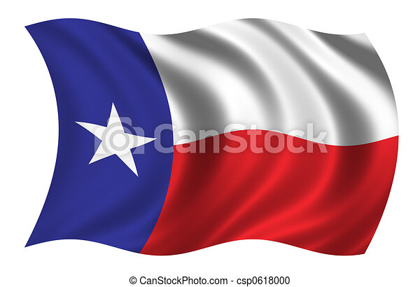 Flag Of Texas Waving In The Wind Stock Illustration