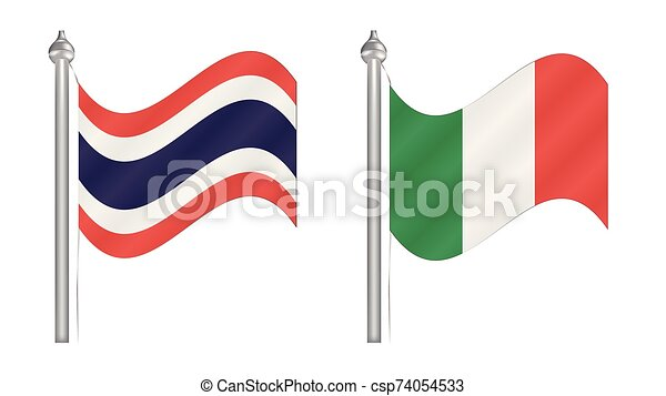 Flag of Thailand and Italy. Abstract Flying flag for International relationship - csp74054533