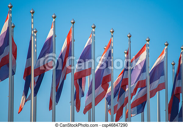 Flag of Thailand with blue sky. - csp46847290