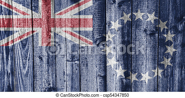 Flag of the Cook Islands on weathered wood - csp54347850