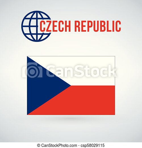 Flag of the Czech Republic. vector illustration isolated on modern background with shadow. - csp58029115