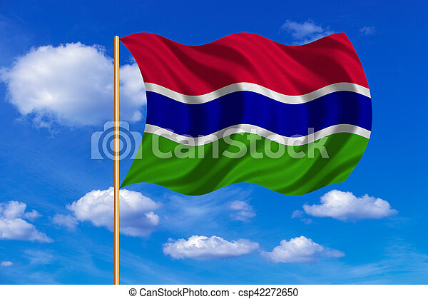 Flag of the Gambia waving on blue sky background - csp42272650