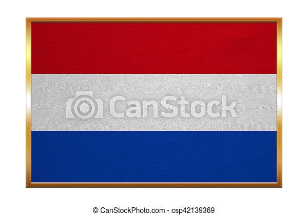 Flag of the Netherlands, golden frame, textured - csp42139369