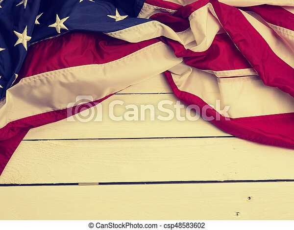 Flag of the United States on wood - csp48583602