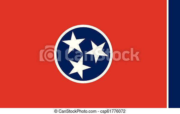 Flag of the US State of Tennessee, detailed vector - csp61776072