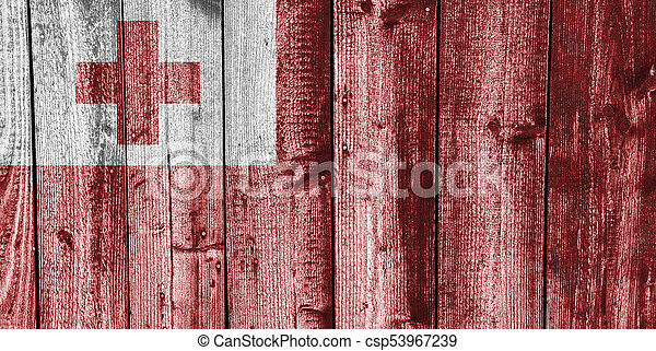 Flag of Tonga on weathered wood - csp53967239