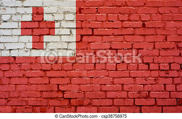 Flag of Tonga painted on brick wall, background texture - csp38756975