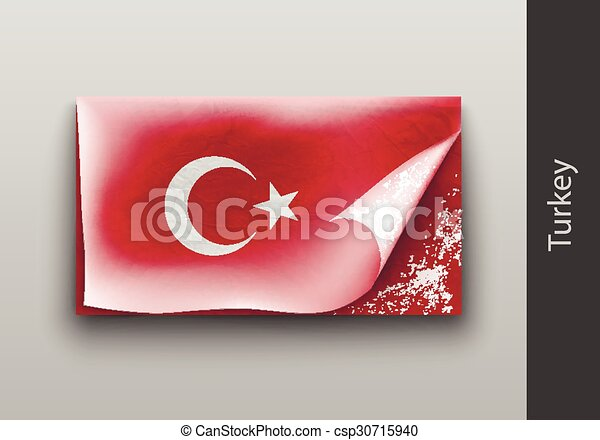 flag of Turkey  with the tattered masking  - csp30715940