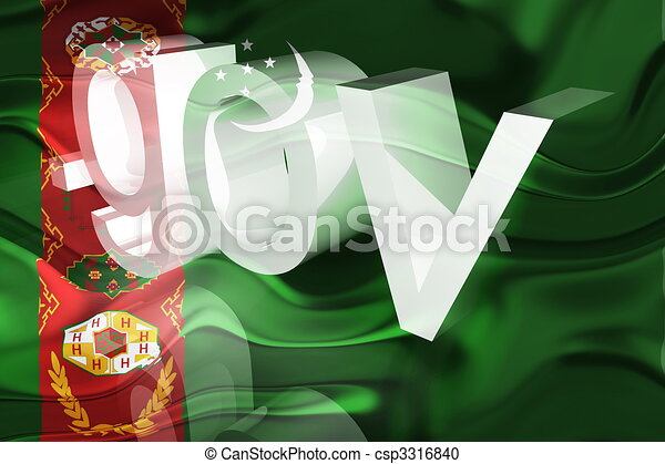 Flag of Turkmenistan wavy government - csp3316840