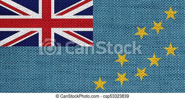 Flag of Tuvalu on old linen - csp53323839
